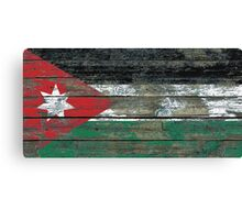 Flag of Jordan on Rough Wood Boards Effect Canvas Print