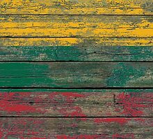 Flag of Lithuania on Rough Wood Boards Effect by Jeff Bartels
