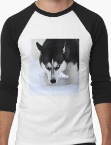 If Looks Could Kill - Black and White Husky Men's Baseball ¾ T-Shirt