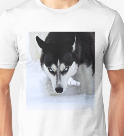If Looks Could Kill - Black and White Husky Unisex T-Shirt
