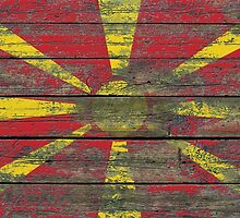 Flag of Macedonia on Rough Wood Boards Effect by Jeff Bartels