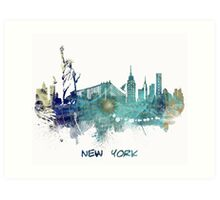 New York City skyline blue Art Print