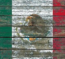 Flag of Mexico on Rough Wood Boards Effect by Jeff Bartels