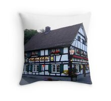 "Restaurant ""Zur Bruecke"" at dawn Throw Pillow"