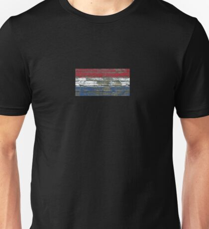 Flag of Dutch on Rough Wood Boards Effect Unisex T-Shirt
