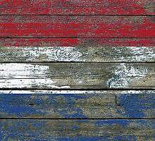 Flag of Dutch on Rough Wood Boards Effect by Jeff Bartels