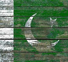 Flag of Pakistan on Rough Wood Boards Effect by Jeff Bartels