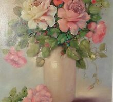 Mulit color Roses, in beige vase by Cathy Amendola