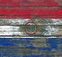 Flag of Paraguay on Rough Wood Boards Effect by Jeff Bartels