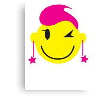 Cute pink happy SMILEY with starry earrings Canvas Print