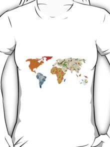 Floral Patchwork World Map T-Shirt