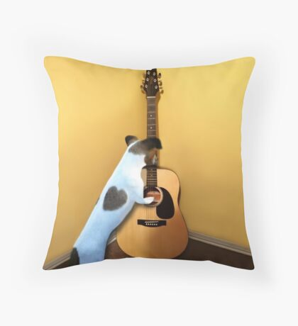 STRUMMING THE WAY MY HEART FEELS FOR U..CANINE STRUMMING GUITAR PILLOW AND OR TOTE BAG ECT.. Throw Pillow