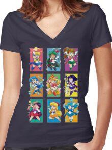 Senshi Blocks Women's Fitted V-Neck T-Shirt