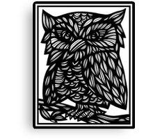 Burstein Owl Yellow Black Canvas Print