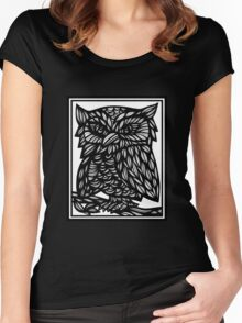 Burstein Owl Yellow Black Women's Fitted Scoop T-Shirt