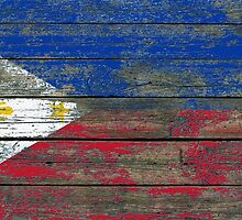 Flag of Philippines on Rough Wood Boards Effect by Jeff Bartels