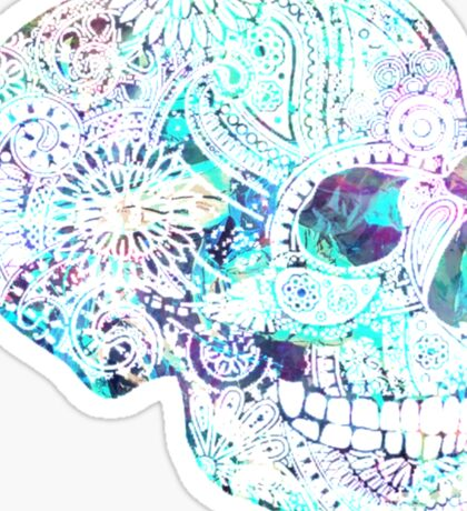 Blue Reflective Skull Sticker