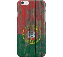 Flag of Portugal on Rough Wood Boards Effect iPhone Case/Skin