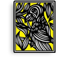 Glassing Parrot Yellow Black Canvas Print