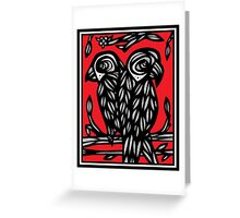 Urry Parrot Red White Black Greeting Card