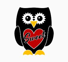 Black Owl with Red Heart - Sweet Womens Fitted T-Shirt