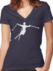 ski : silhouettes Women's Fitted V-Neck T-Shirt