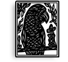 Faivre Parrot Black and White Canvas Print