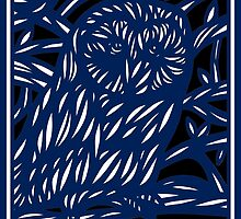 Mohre Owl Blue White Black by martygraw
