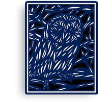 Mohre Owl Blue White Black Canvas Print