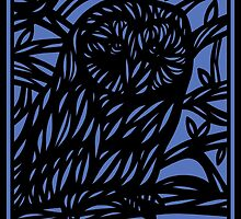 Seek Owl Blue Black by martygraw