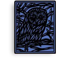 Seek Owl Blue Black Canvas Print