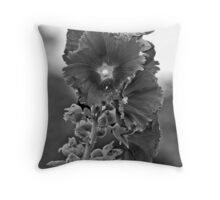 Flower with long stalk in B&W Throw Pillow