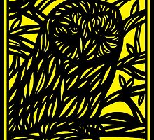 Pflum Owl Yellow Black by martygraw