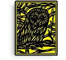 Pflum Owl Yellow Black Canvas Print