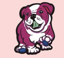 Happy Bulldog Puppy Pink and White  Kids Clothes