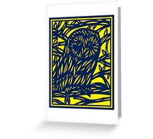 Loperfido Owl Yellow Blue Greeting Card