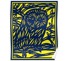 Loperfido Owl Yellow Blue Poster