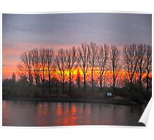 A new day dawning over the Rhine river Poster