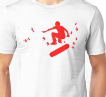 skateboard with birds Unisex T-Shirt