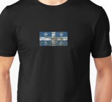 Flag of Quebec on Rough Wood Boards Effect Unisex T-Shirt