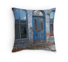 Old Blue Building Throw Pillow