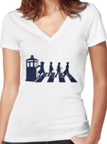 Tardis Road - Blue Women's Fitted V-Neck T-Shirt