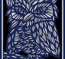 Brezina Owl Blue White Black by martygraw