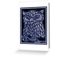 Brezina Owl Blue White Black Greeting Card