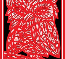 Bergsman Owl Red White Black by martygraw
