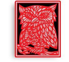 Bergsman Owl Red White Black Canvas Print