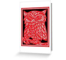 Bergsman Owl Red White Black Greeting Card