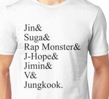BTS Bangtan Boys Member Stage Names Unisex T-Shirt
