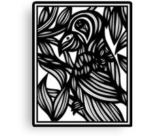 Sehr Parrot Black and White Canvas Print