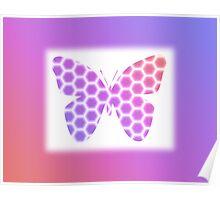 Peach Pink Purple Butterfly in Hexagonal Pattern Poster